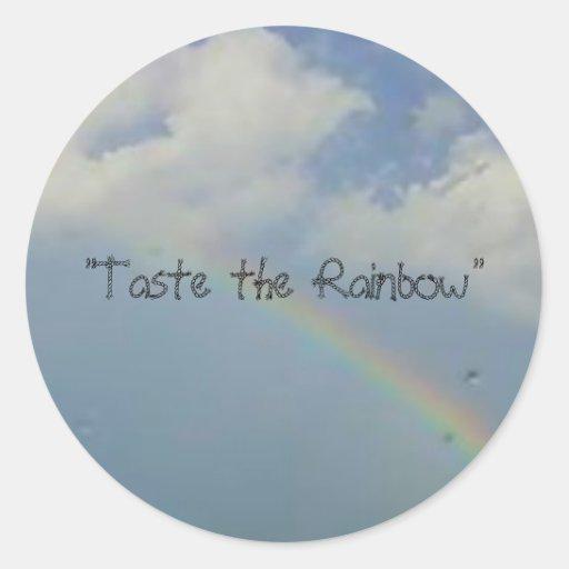 """""""Pruebe el arco iris """" Etiqueta Redonda"""