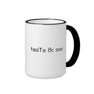 pruebe y vea - la taza negra del borde