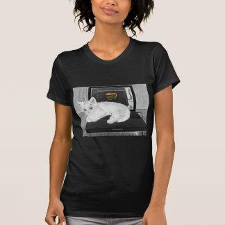 Prunella white cat lounging on laptop T-Shirt