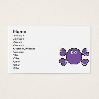prurple fuzzy monster Skull purple Crossbones Business Card