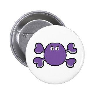 prurple fuzzy monster Skull purple Crossbones Pinback Button