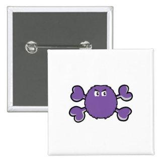 prurple fuzzy monster Skull purple Crossbones Pinback Buttons