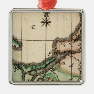 Prusia 2 adorno navideño cuadrado de metal