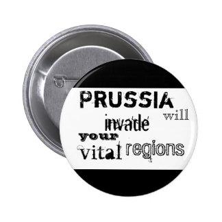 Prusia invadirá sus regiones vitales pin redondo de 2 pulgadas