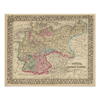 Prusia, mapa de los estados alemanes de Mitchell Póster