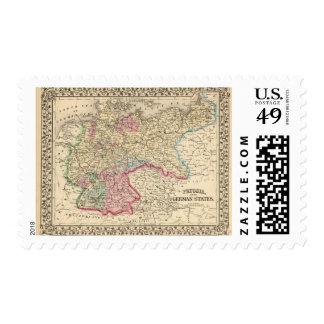 Prusia, mapa de los estados alemanes de Mitchell Sellos
