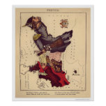 Prussia Caricature Map 1868 Poster