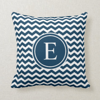 Prussian Blue Personalized Chevron Monogram Throw Pillow