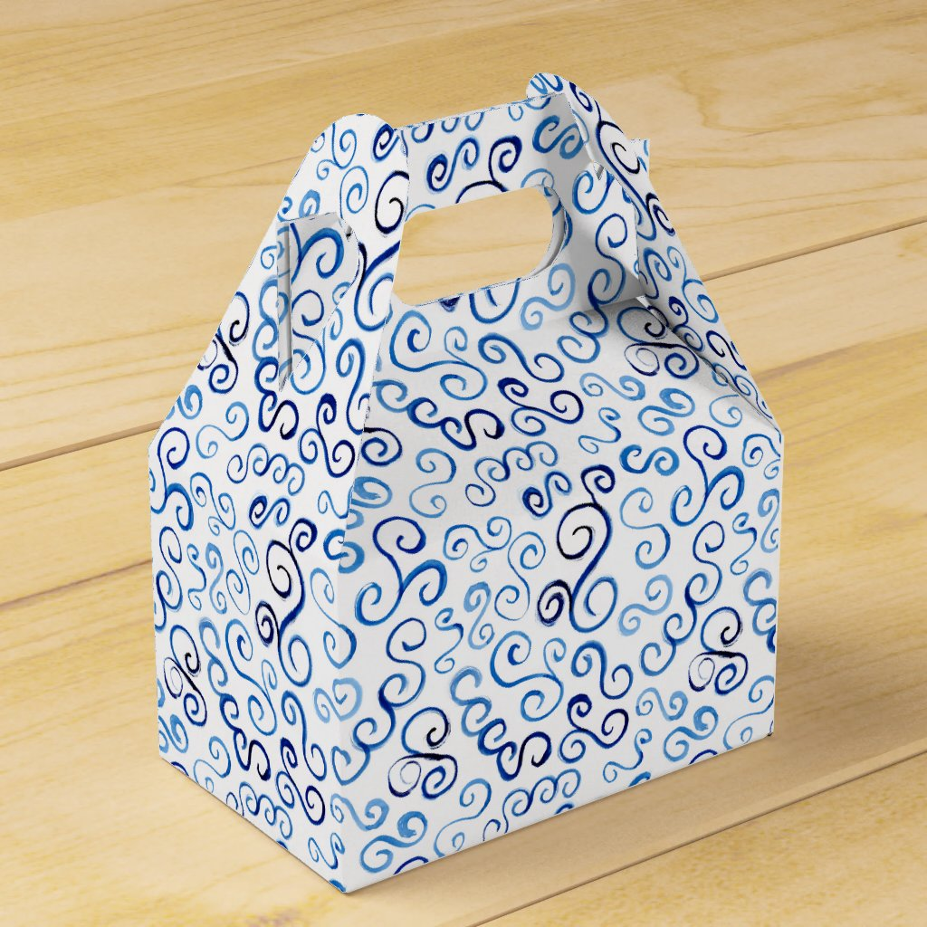 Prussian Blue Watercolor Curves Gable Favor Box