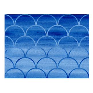Prussian Blue Watercolor Scale Pattern Postcard
