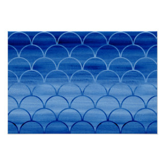 Prussian Blue Watercolor Scale Pattern Poster