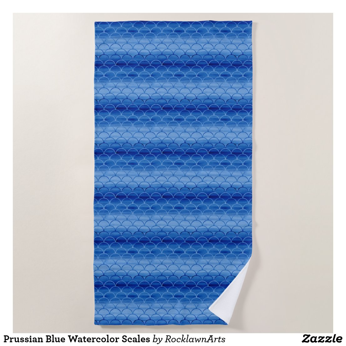 Prussian Blue Watercolor Scales Beach Towel