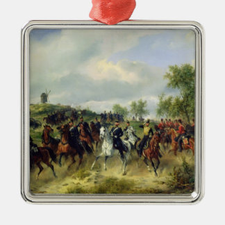 Prussian cavalry on expedition, c.19th metal ornament