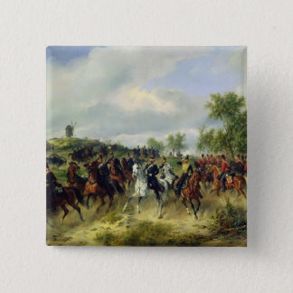 Prussian cavalry on expedition, c.19th pinback button