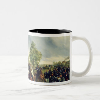 Prussian cavalry on expedition Two-Tone coffee mug