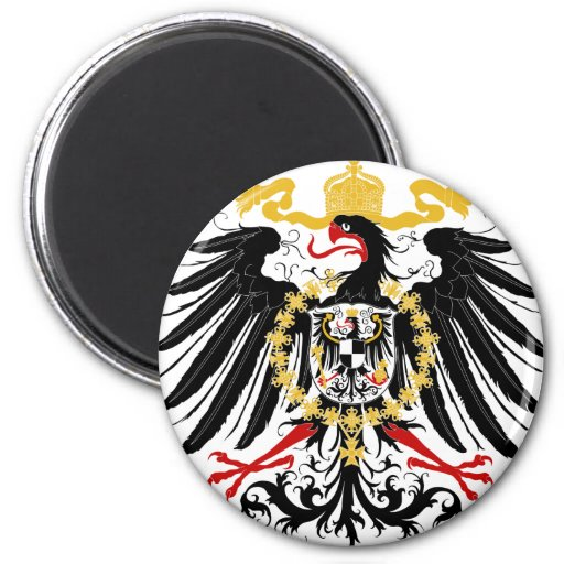 Prussian Eagle Red Black and Gold 2 Inch Round Magnet