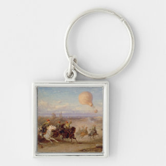 Prussian Hussars firing at a French Observation Ba Keychain