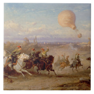 Prussian Hussars firing at a French Observation Ba Tile