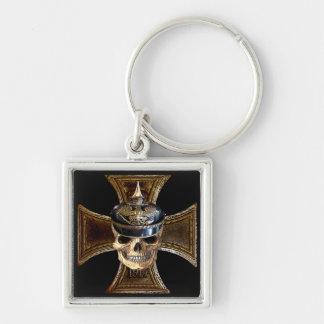 Prussian skull w iron cross keychain