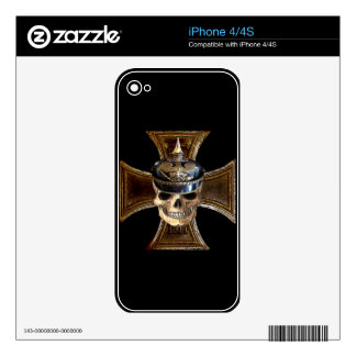 Prussian Skull w Iron Cross phone skin Decals For iPhone 4