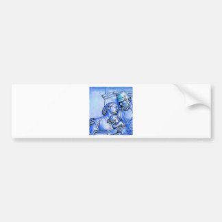 Prussian Soldier Woman and Baby Blue Tint Bumper Stickers