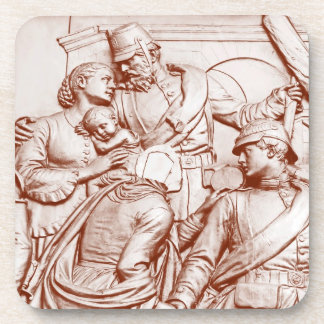 Prussian Soldiers, Woman & Baby, Brown Tint Drink Coaster