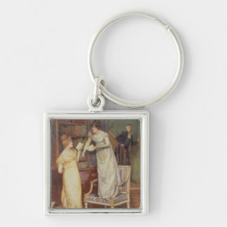 Prying Eyes, 1901 (w/c heightened with white) Silver-Colored Square Keychain