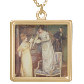 Prying Eyes, 1901 (w/c heightened with white) Square Pendant Necklace