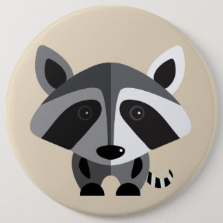 ps061 cute racoon pinback button