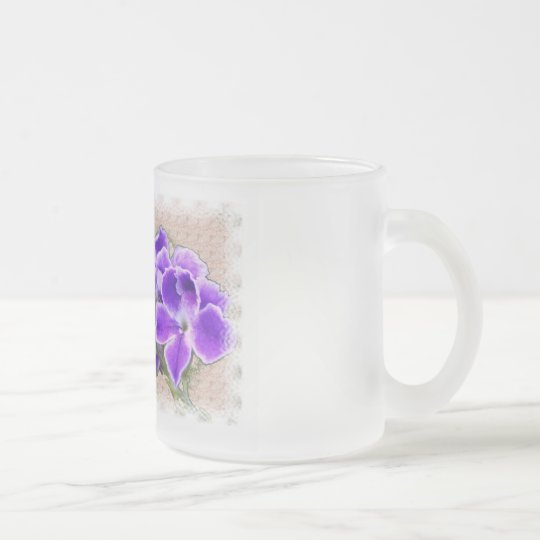 Ps34:3 Purple Flowers Frosted Glass Coffee Mug