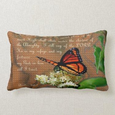 """Ps91 Butterfly Throw Pillow Lumbar 13"""" x 21"""""""