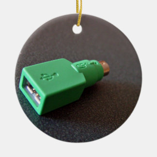 PS/2 motherboard to USB mouse adaptor Double-Sided Ceramic Round Christmas Ornament