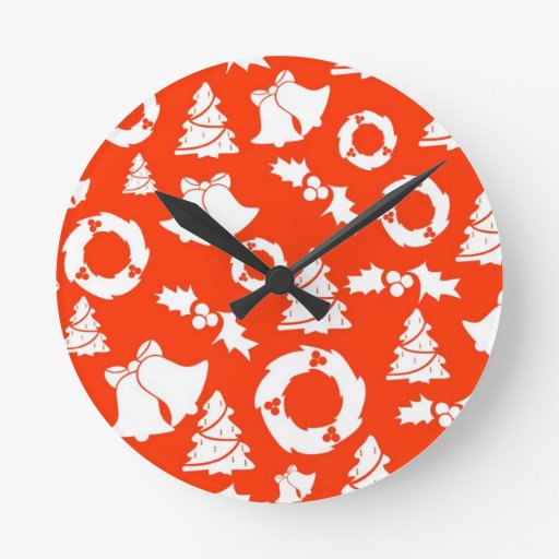 PS red-christmas-.jpg Round Clock