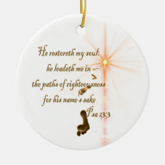 Psa 23.3 The Lord is my shepard Ceramic Ornament