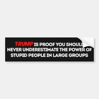 PSA: Never Underestimate Power of Stupid Voters Bumper Sticker