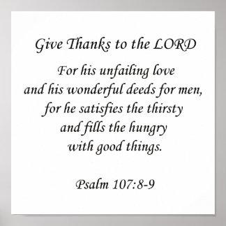 Psalm107: 8-9.  Dé las gracias al señor Impresiones