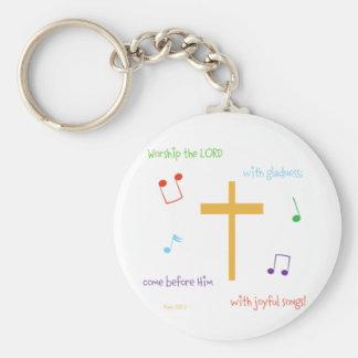 Psalm 100:2 keychain