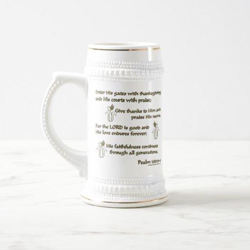 Psalm 100:4-5 18 oz beer stein