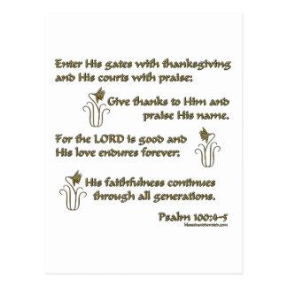 Psalm 100:4-5 postcard