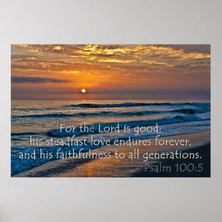 Psalm 100:5 Sunset image Poster