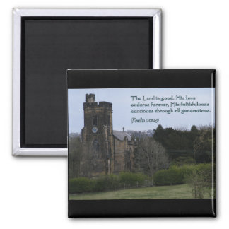Psalm 100:5 Village Church 2 Inch Square Magnet