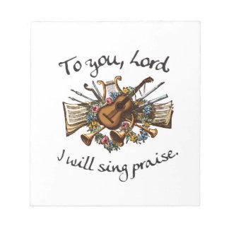 Psalm 101:1 - Vintage Musical Illustration Notepad