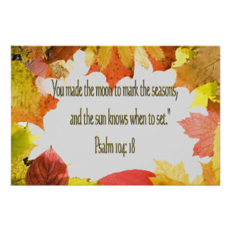 Psalm 104 Christian Poster or Print Fall Leaves