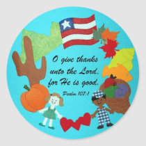 Psalm 107:1 classic round sticker