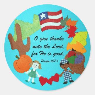 Psalm 107:1 round sticker