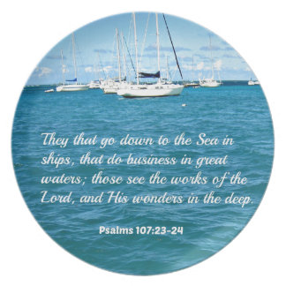 Psalm 107:23-24 They that go down to the Sea... Dinner Plate