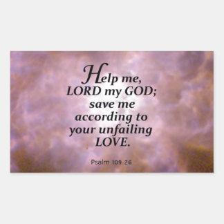 Psalm 109:26 rectangle sticker