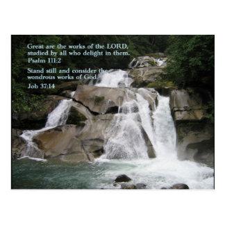 Psalm 111:2  Waterfall Postcard