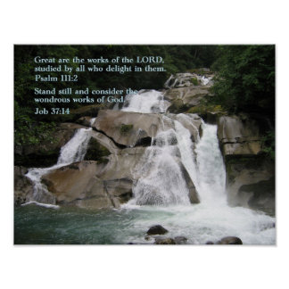 Psalm 111:2 Waterfall Poster