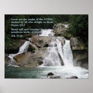 Psalm 111:2 Waterfall Poster